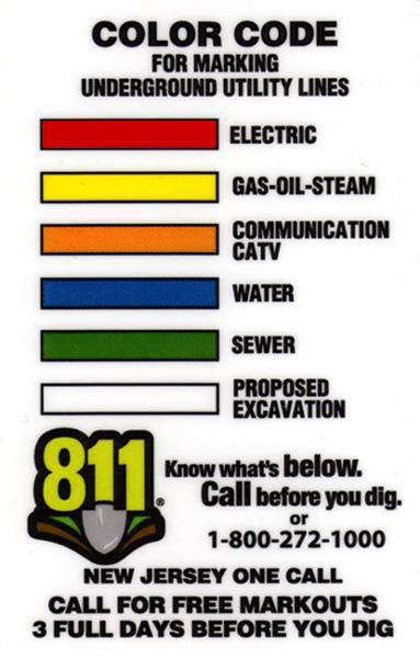 a color code chart for marking underground utility lines